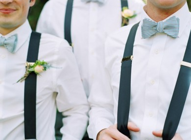 navy braces and striped bow tie