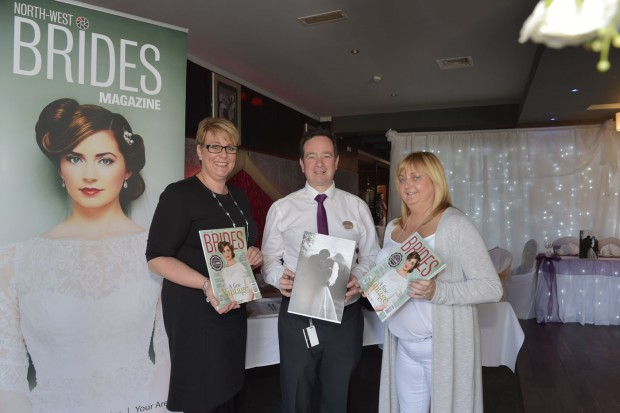 Heather Fallis North West Brides, Paddy Houston Fir Trees hotel and Pauline Harte North West Brides at the start of the Bridal Fair at the Fir Trees Hotel. DR05