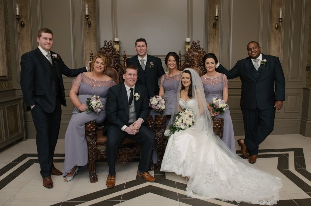 Tom and Aisling with their bridal party, Matthew, Sabrina, Richard, Eimear, Grainne and Jonas.