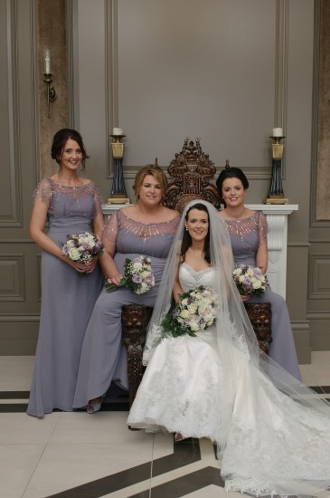 Aisling with her sister Sabrina and bridemaids Eimear and Grainne.