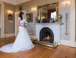 Bride at teh fireplace in Corick House Hotel 2