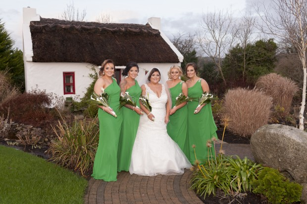 The new Mrs Arbuckle is joined by her maid of honour, Janine Potts, and bridesmaids, Emma Hannigan, Lisa Patton and Jade Arbuckle.