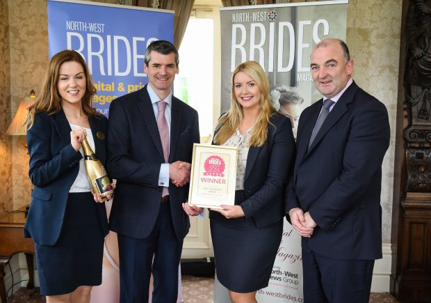 The Best Wedding Venue award went to the Manor House Country Hotel. Pictured receiving the award on behalf of the hotel are (R-L) John O'Neill, Claire Anderson and Claire Cassidy. Also pictured presenting the award is Darren Farnan, North-West Brides.