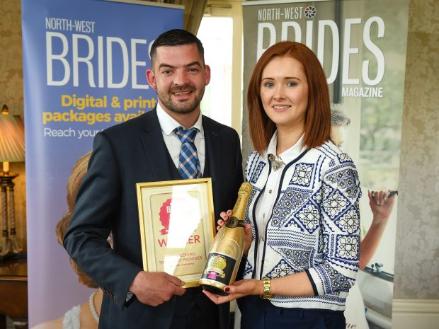 Stephen McAleer from Glendale Limousines receiving the Best Wedding Transport Provider award from Mairead Kelly, North-West Brides