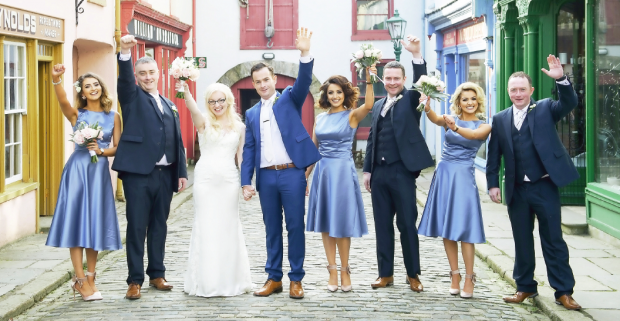 Newlyweds Stacey and Stephen, with their wedding party Nicola Curran (maid of honour), bridesmaids Holly Gibson, Jade Gibson. Also pictured are Damien McCarney (best man) and groomsmen Brendan McCarney and Cathal McCarney.