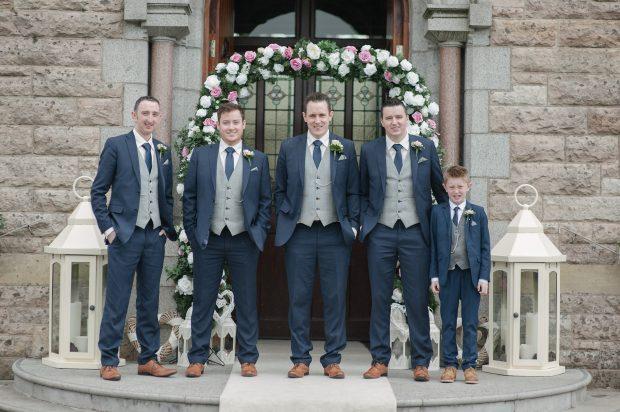 The newly-married Caolan McAnespie, alongside best man, Shea Loughran, groomsmen Aidan Loughran and John Regan and page boy, Darren McAnespie.