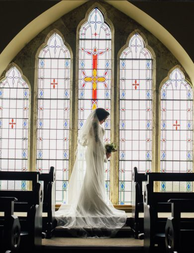 The sun shone through the windows of Aughnagar Chapel, on the day of Michaela's spring wedding