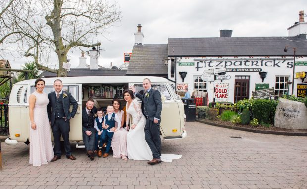 Newlyweds, Michaela and Eoghan McGurk, along with maid of honour Caoimhe McGurk and bridesmaid Ali Keogh. Also pictured is best man, Declan Hall, groomsman, Michael Laverty and pageboys, Ciarán and Ronan McGurk.