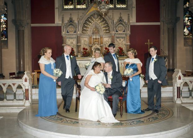 The new Mr and Mrs McLaughlin, alongside chief bridesmaid, Julie Martin, and bridesmaids Donna McLaughlin and Calin D'arcy. Also pictured is best man, Patrick McLaughlin, groomsman Rory McLaughlin and usher, Mark McLaughlin.