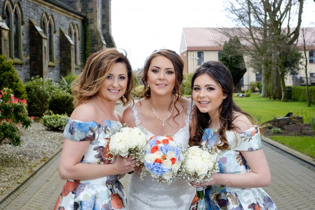 Cathy Doggart, the blushing bride, alongside maid of honour, Janice Deazley and bridesmaid, Rhiannon Austin.
