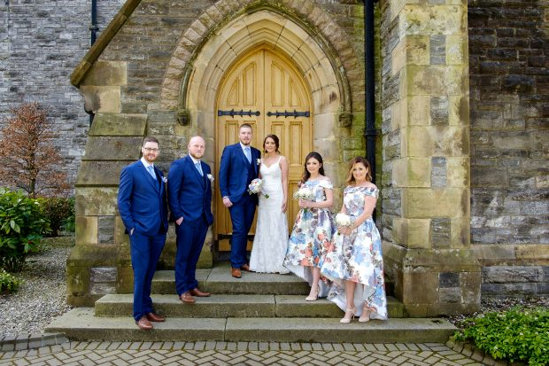 The newlyweds, Mr and Mrs Doggart, alongside maid of honour, Janice Deazley and bridesmaid Rhiannon Austin. Also pictured is best man, Steven Doggart and groomsman Kyle Spence.