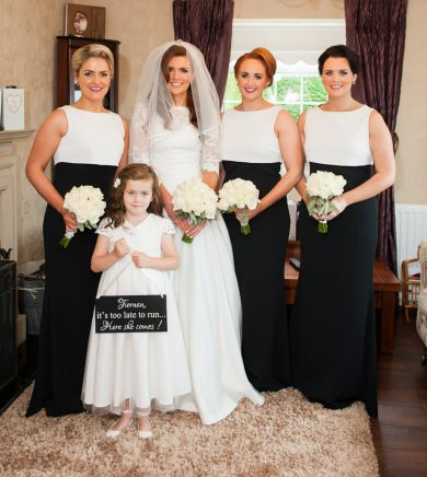 The new Mrs McAleer, alongside her maid of honour, Stella McCrossan, bridesmaids Jelena Donnelly and Joanne McAleer and flower girl, Roise McAleer.
