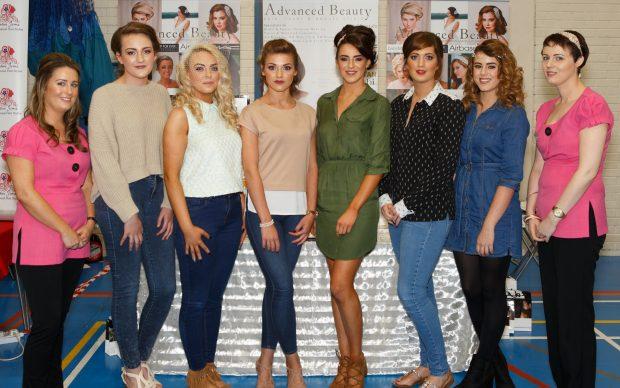 Jacqueline McCaffrey and Roisin McElgunn from Advanced Beauty with models; Bethany Blair, Clodagh McGovern, Basia Stachelek, Hayley Leonard, Michelle McCutcheon and Aoife McCann. JPM9375