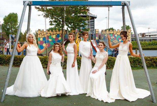 The models Clodagh McGovern, Aoife McCann, Basia Stachelek, Michelle McCutcheon, Bethany Blair and Hayley Leonard take a moment to relax at the close of the event. JPM9439