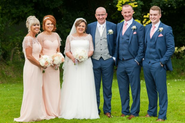 The newlyweds, Clodagh and John, alongside their bridesmaids, Megan Murphy (daughter of bride) and Estelle Finlay, best man, Declan Quinn and groomsman, Conor Donnelly (son of groom).