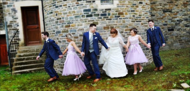 Newlyweds, Tracy and Gareth McLaughlin, alongside bridesmaids, Demi Blackadder and Seanitta Diver, best man, Adam McLaugh- The newlyweds, Tracy and Gareth, pictured on their wedding day. lin and groomsman, Michael McGowan.