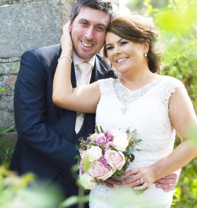 Denise and Jason are all smiles as the sun shines down on their Spring wedding day