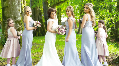 Here come the girls... The blushing bride, Denise McSwiggan, alongside maid of honour, Caoimhe Ferry, bridesmaids Patricia Murphy and Karen Grimes, junior bridesmaid, Aoife Emma-jo Ferry and flowergirl, Cobhlaith Murphy.