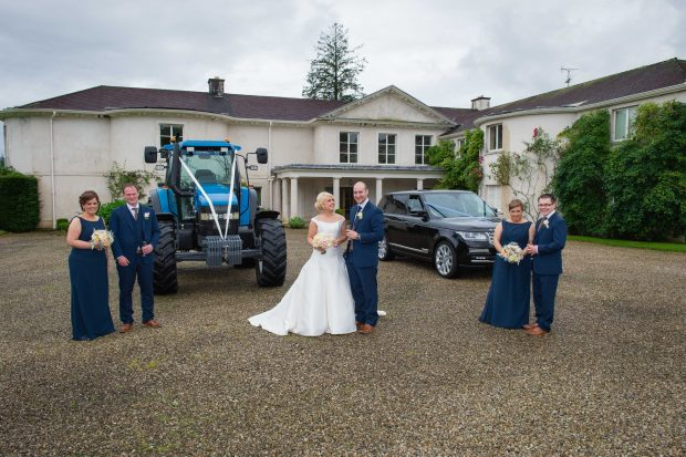 The newlyweds, Orla and Gary, alongside their maid of honour, Siobhan Donegan and best man, Stephen Whiteman. Also pictured is bridesmaid, Cathy Gildernew and groomsman, Bob McMahon.