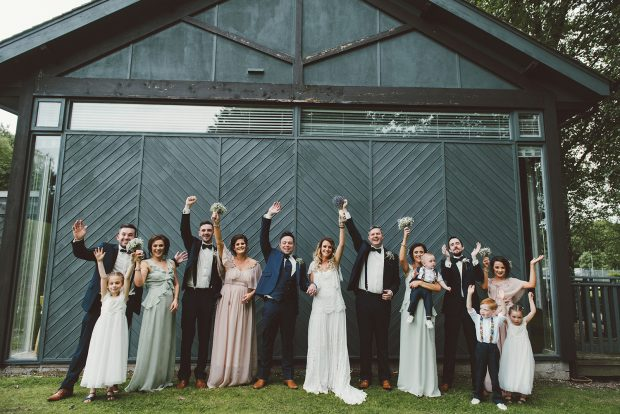 The newlyweds, Melissa and John Paul, alongside their maid of honour, Jessica Roberts and best man, Peter Hannigan. Also pictured are bridesmaids, Caroline Parker, Maria Duddy, Bethany Walters, groomsmen, Ronan Parker, Luke Walters and Gavin Kelly. Flower girls pictured are Chloe Walters, Emilie Walters and baby Grace Parker, and page boys are Daniel Stewart and baby Oscar Roberts.