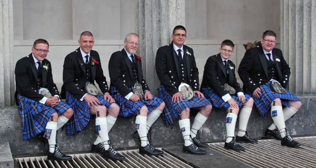 The newly-married Michael Rae shows off his Scottish heritage in his kilt, matched perfectly by bride's father, Jim Maguire, best man, Richard Black and groomsmen, Gareth Rae, Scott Marshall and Bradley Clarke.