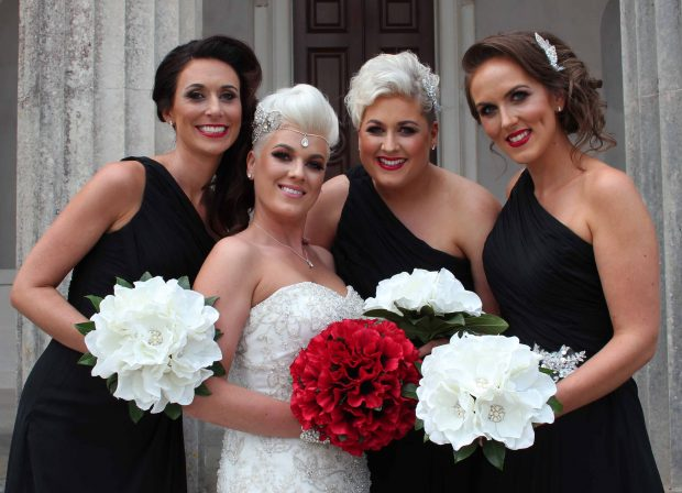 The new Mrs Rae, alongside her maid of honour, Victoria Rae, and bridesmaids Lucy Watters and Ally Williams.