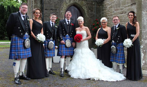 The newlyweds, Wendy and Michael Rae alongside their maid of honour, Victoria Rae and best man, Richard Black. Also pictured are bridesmaids, Lucy Watters and Ally Williams and groomsmen, Gareth Rae, Scott Marshall and Bradley Clarke