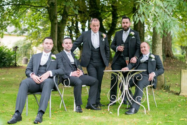 The newly-wed Brendan McCullagh (centre), pictured alongside best man, John McCullagh, and groomsmen, Chris McCullagh, Ryan McCullagh and Mark Owens.