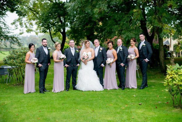 Newlyweds Michelle and Brendan, alongside maid of honour, Leona McManus, best man, John McCullagh, bridesmaids, Sabrina McKenna, Nicole McManus, Marie McArt and groomsmen, Chris McCullagh, Ryan McCullagh and Mark Owens.