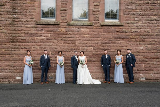 Newlyweds Orla and Noel O'Kane, alongside their chief bridesmaid, Emma McDermott and best man Daniel McGaughey. Also pictured are bridesmaids Edel O'Kane and Rachel McCrossan and groomsmen Kevin McCullagh and Seamus Harkin.