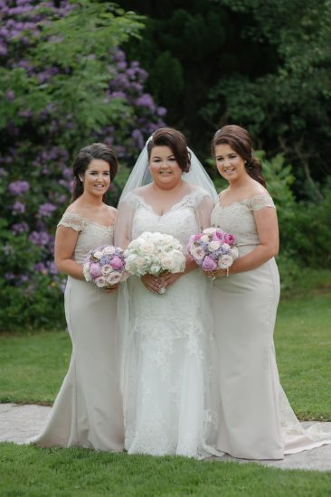 The new Mrs Quinn, alongside her two sisters Sinead and Leanne Gallagher who were bridesmaids on her big day.