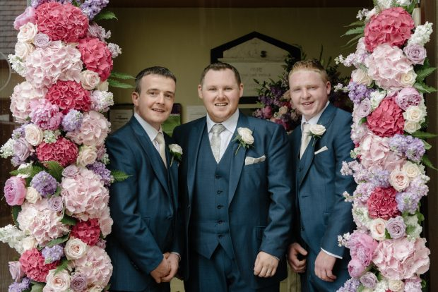 Groom, Niall Quinn is pictured on his Summer wedding day with best man, Gerry McDonnell and groomsman, Sean Walsh