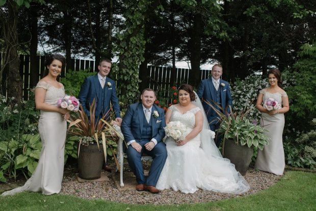 Newlyweds Emma and Niall Quinn, alongside their best man, Gerry McDonnell, groomsman, Sean Walsh and bridesmaids, Sinead and Leanne Gallagher.