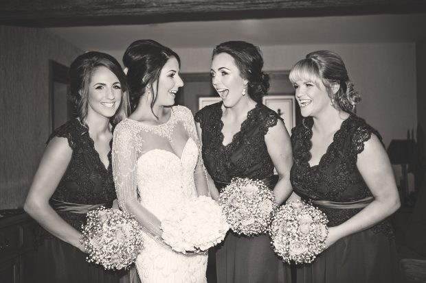 Blushing bride, Emma-Louise Mulgrew shares a laugh with her two sisters, Clare and Ciara Donnelly, and her cousin, Caroline McNamee on her wedding day.