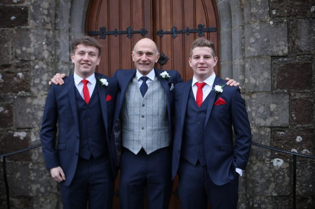 Groom, Kenny Humphreys looking smart on the day of his December wedding, and his two beloved sons, Stephen and Andrew who shared the prestigious role of best man.