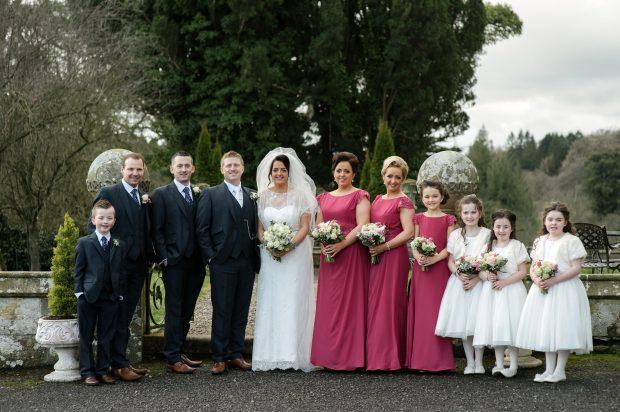 Paul and Una with their bridal party, Ben Kirwan, Tommy Connors, Eric Kirwan, Mairead Hurson, Sharon Farley, Ella Hetherington, Katie Hetherington, Lily Mae Hurson and Annie Farley.