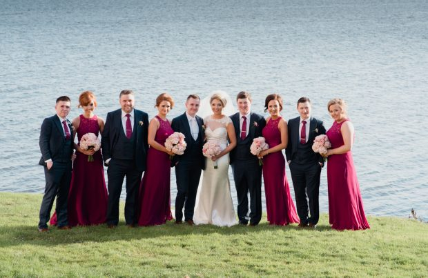 Newlyweds Chantelle and Martin Devine, alongside their maid of honour, Laura Taggart and best man, Sean Clarke. Also pictured are bridesmaids Laura Mellon, Maria Devine, Naoimh McDaid and groomsmen, Eamonn McAleer, Stephen Armstrong and Matthew Armstrong.